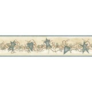 Brewster CTR65173B Paxton Blue Tin Hearts & Stars Border Wallpaper