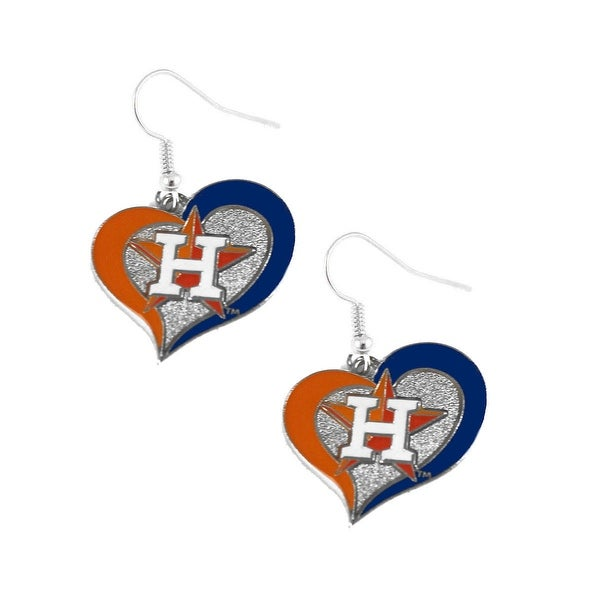 Houston Astros Swirl Heart Necklace and Dangle Earring Set MLB Charm Gift - 3/4 Inch charm and 18 inch chain. Opens flyout.