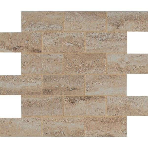 "MSI NPIEVEZ2X4P Pietra - 2"" x 4"" Brick Joint Mosaic Tile - Glossy Porcelain Visual - Sold by Carton (8 SF/Carton) - Beige"
