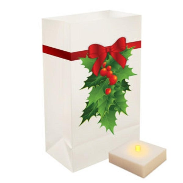 Pack of 6 Christmas Holly Luminaria Bags with Flickering Amber LED Flameless LumaLites