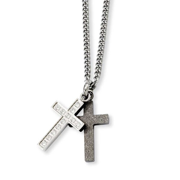Stainless Steel Laser-cut & CZ Crosses Pendant 20in Necklace (2 mm) - 20 in