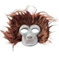 Chimp Plush Costume Mask Adult One Size - Brown