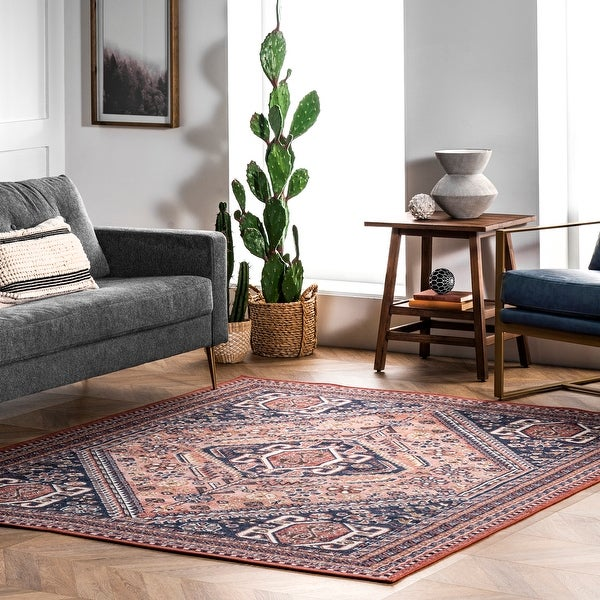 nuLOOM Shailee Traditional Geometric Medallion Area Rug. Opens flyout.