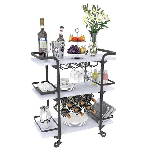 Petiture Bar Cart with Wine Rack and Glass Holder Wine Carts on Wheels for Home 3 Tier Storage Shelves Liquor Cart Industrial Vintage Style with Removable Tray