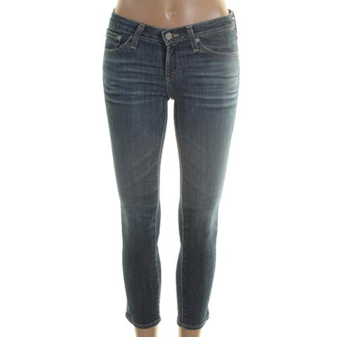 Adriano Goldschmied Womens Cigarette Jeans Cropped Whisker Wash - Blue - 27