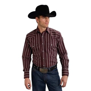 Roper Western Shirt Mens L/S Striped Snap Wine 01-001-0074-0706 WI