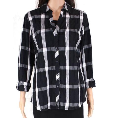 Foxcroft Women's Button Down Shirt Black Size 6 Plaid Contrast V-Neck