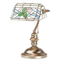 Table Lamp Antique Brass Style Stained Glass 14H