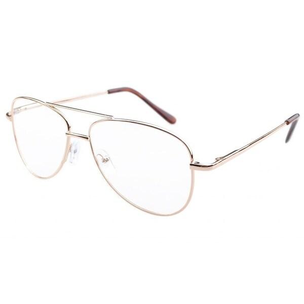 Eyekepper Pilot Style Metal Frame Spring Hinges Reading Glasses Gold +2.25