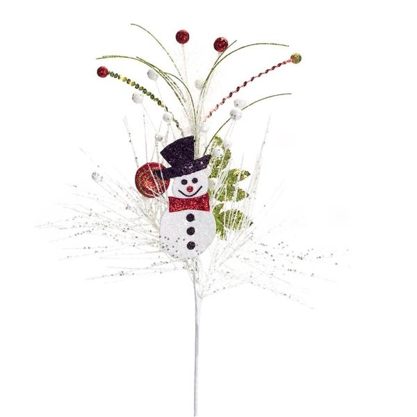 """Club Pack of 12 Decorative Joyous Christmas Glittered Snowman with Black Top Hat Pine Spray 23"""""""