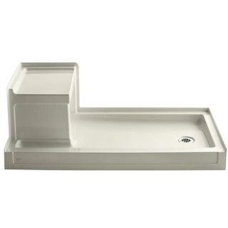 "Kohler K-1976 Tresham 60"" x 32"" Single Threshold Shower Base with Right Drain and Built-In Seat"
