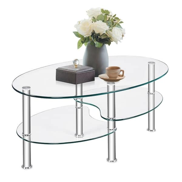 Shop Costway Tempered Glass Oval Side Coffee Table Shelf ...