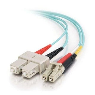 C2g / Cables To Go 33051 Lc-Sc 10Gb 50/125 Om3 Duplex Multimode Pvc Fiber Optic Cable, Aqua (1 Meter)