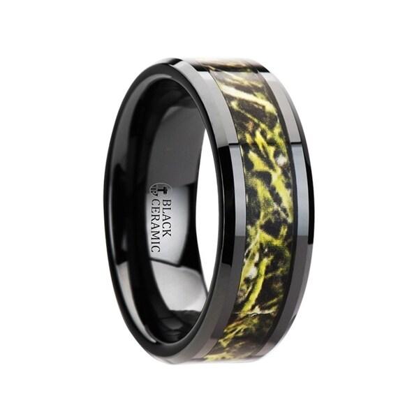 Everglade Black Ceramic Wedding Band With Green Marsh Camo Inlay Ring