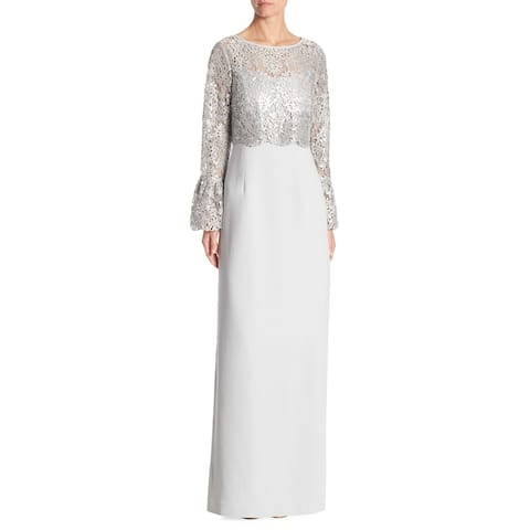 de267693a34 Teri Jon Popover Bell Sleeve Overlay Evening Gown Dress Platinum
