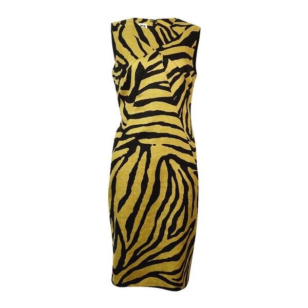 Anne Klein Women's Zebra Print Linen Cotton Sheath Dress
