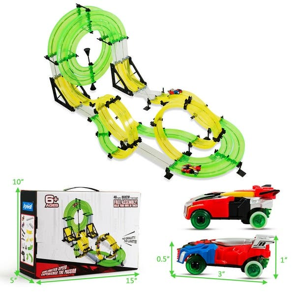 GYMAX Car Racing Track Set Electric Double-Rail Race for Kids Slot Racing Set with 2 Cars and 2 RC Controllers