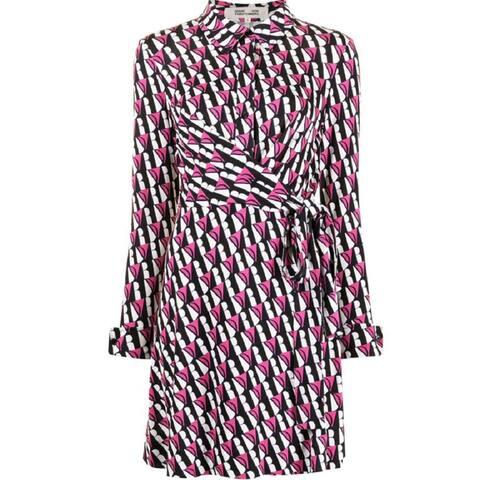 Diane von Furstenberg DVF Womens Didi Logo Stripe Ivory Pink
