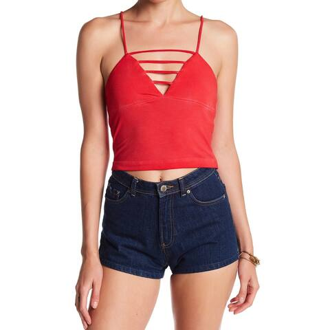 Cad Women's Large Crop Strappy Ladder Knit Cami Top $28