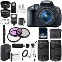 Canon EOS Rebel T5i 18 MP CMOS DSLR Camera w/EF-S 18-55mm (International Model) + EF 75-300mm Telephoto Lens Bundle