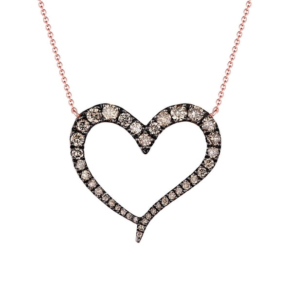 Brand New 0.59Ct Natural Brown/SI1 Diamond Heart Shaped Valentine 17 Inches Necklace - Brown