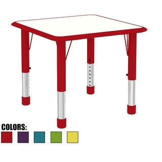 2xhome Adjustable Height Kids Table For Toddler Child Children Preschool Daycare School Wood Activity Kid Chrome Home Red