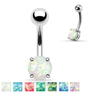 Synthetic Opal Glitter Prong Set 316L Surgical Steel Belly Button Rings