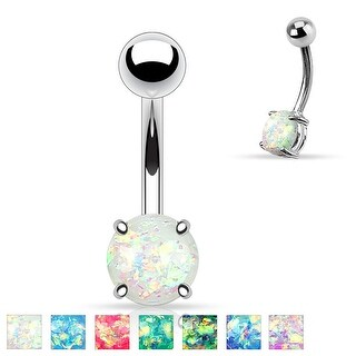 Synthetic Opal Glitter Prong Set 316L Surgical Steel Belly Button Rings (More options available)