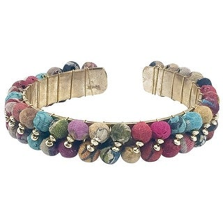 "Anju Jewelry Women's Kantha Wrapped Wooden Beads Cuff Bracelet - 1/2"" Wide Brass"