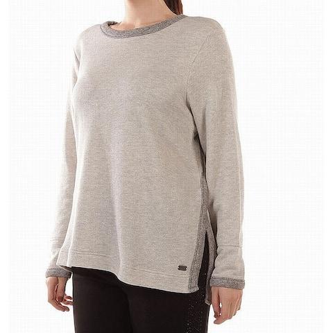Marc York Women's Gray Size 2X Plus Crew Neck Tunic Sweater