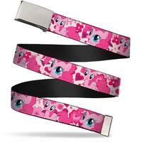 Blank Chrome Buckle Pinkie W Hearts White Pink Webbing Web Belt