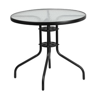 Skovde Round 31.5'' Tempered Glass Metal Table for Patio/Bar