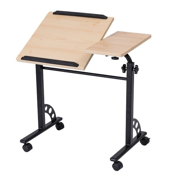 Costway Angle And Height Adjustable Laptop Cart Desk Stand Rolling Mobile  Home Office
