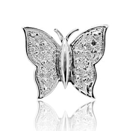 Sterling Silver Butterfly Pendant 0.05cttw Diamond 10mm Tall (i2/i3, i/j)