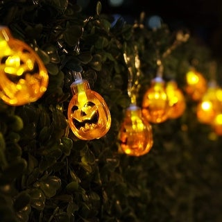 Halloween Copper Wire String Lights, Round Pumpkins, 8 Modes, Battery Powered