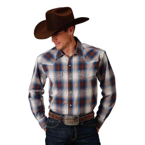 Roper Western Shirt Mens Long Sleeve Snap Brown