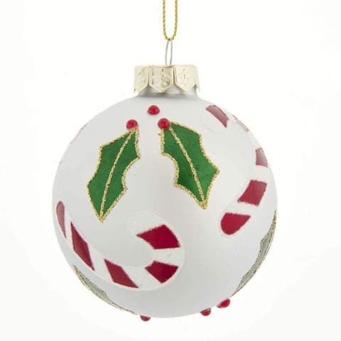 Kurt Adler 80MM Silver Glass Ball Ornaments with Holly Accent and Candy Canes, 6-Piece Set