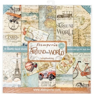 "Stamperia Double-Sided Paper Pad 12""X12"" 10/Pkg-Around The World, 10 Designs/2 Each"