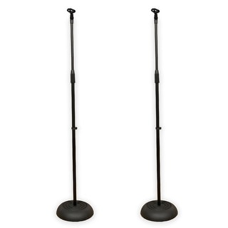 Podium Pro MS1 Adjustable Steel Microphone Stands with EZ Mic Clips 2 Mic Stand Set MS1SET2-2S