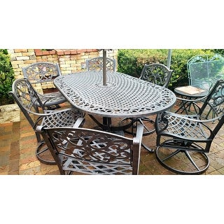 """Havenside Home Fenwick 7-piece Dining Set 72"""" Oval Table with 6 Swivel Chairs"""