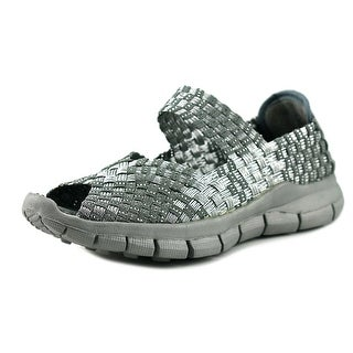 Bernie Mev. Kids Comfi K Youth Peep-Toe Canvas Silver Mary Janes (Option: 12.5)
