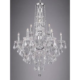 Chrome 9 Light Chandelier with Crystal