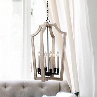 Lantern 6-light Pendant Lights Distressed White Wood Chandelier