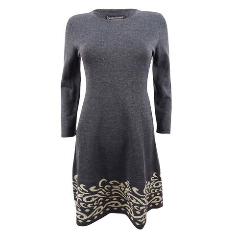 Jessica Howard Women's Contrast Scroll Fit & Flare Sweater Dress (PS, Charcoal) - Charcoal - PS