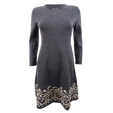 Jessica Howard Women's Contrast Scroll Fit & Flare Sweater Dress - Charcoal