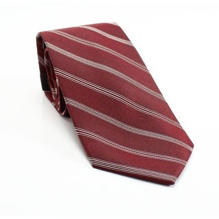 Black Brown 1826 NEW Red Mens One Size Striped Woven Silk Neck Tie