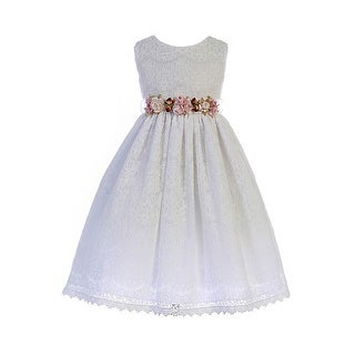 Crayon Kids Little Girls White Floral Adorned Lace Flower Girl Dress (4 options available)