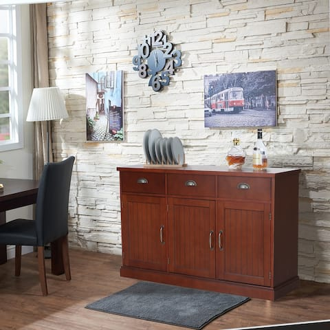 PHI VILLA Farmhouse 3-Door & 3-Drawer Sideboard Accent Buffet Cabinet