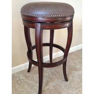 Shop Wenden Tall 34 Inch Brown Leather Swivel Bar Stool