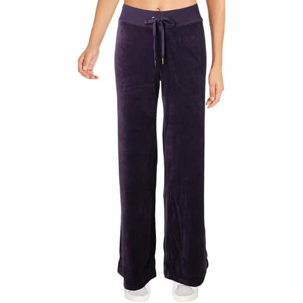 Shop Juicy Couture Black Label Womens Malibu Track Pants Velour Wide Leg Overstock 28276230